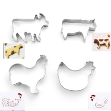 4pcs/Set DIY  Cow Rooster Hen Shape Cookie Cutter Cake Decorating Fondant Cutters Tool Cookies Stainless Steel Biscoito
