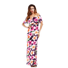 New 2017 Sexy Long Sundresses Robe Femme Floor Length Gowns Ruffles Slash Neck Boho Clothing Beach Dress Women Tunic Kardashian
