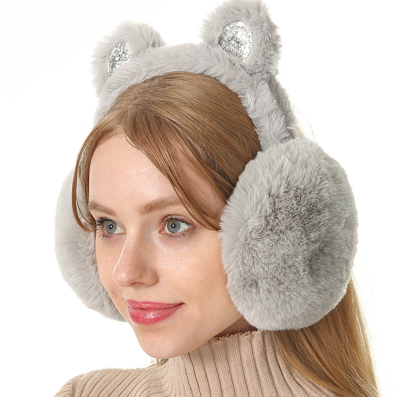 Korean-style Earmuff Warm Women's Winter Earmuffs Bow Sequin Cat Ears Plush Earmuffs Earmuff Rex Rabbit Fur Earmuff
