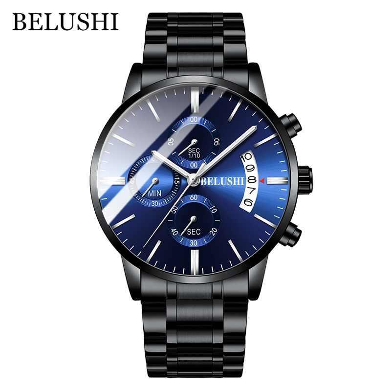 Herren Uhr Luxus Marke BELUSHI High-end-Mann Business Casual Uhren Herren Wasserdichte Sport Quarz Armbanduhr relogio masculino