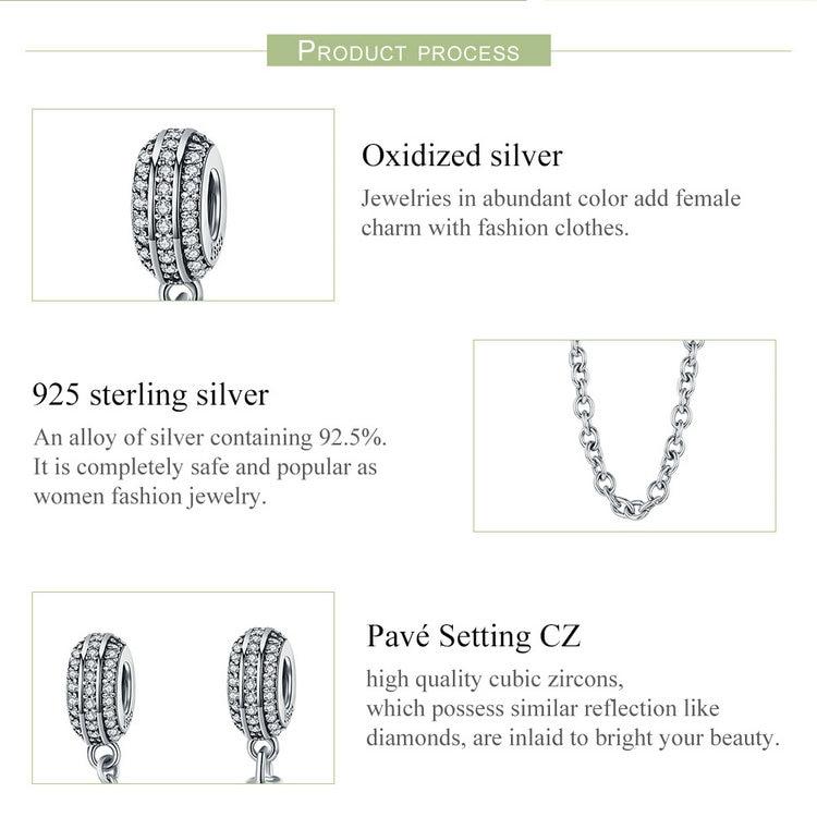 100% 925 prata esterlina pavimentar inspiração corrente