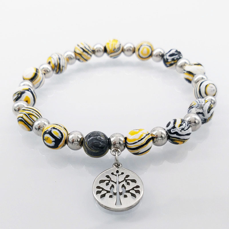 Silver Color Tree of Life Bracelets Bangles for Women Silver Color Stainless Steel Stone Bead Women Bracelet Jewelry B61370B