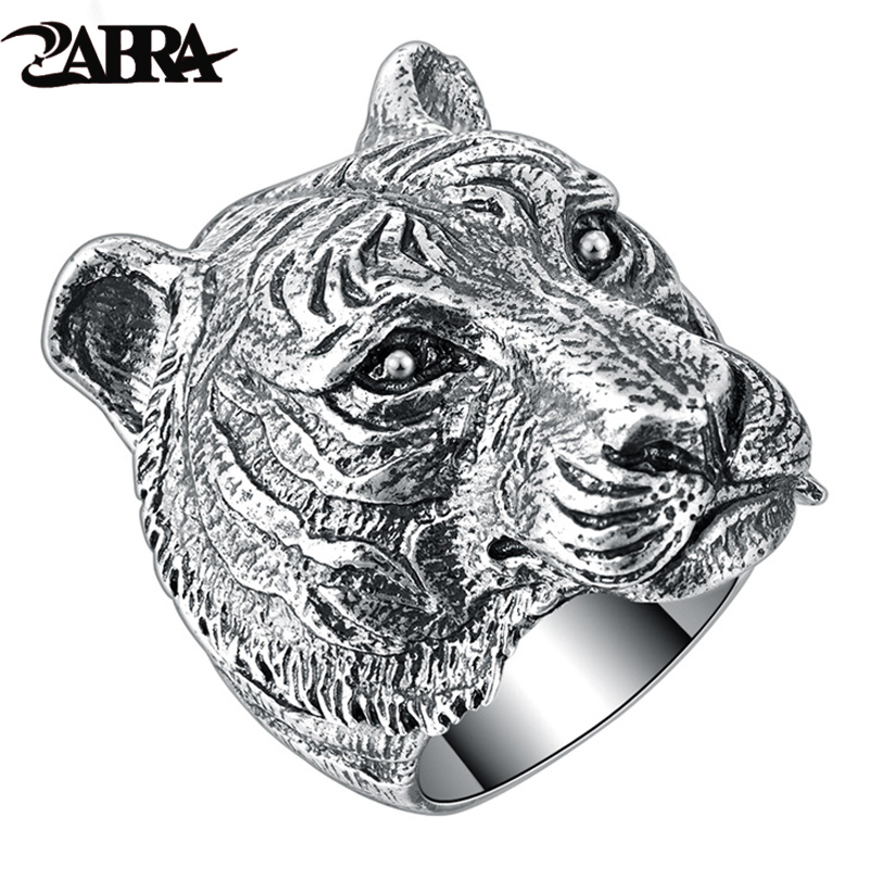ZABRA Authentic 925 Sterling Silver Cool Tiger Big Ring for Mens Vintage Punk Retro Domineering Finger Gothic Ring Men Jewelry beier 925 silver sterling jewelry 2015 men s retro domineering ring animal ring super big dragon man ring d1234