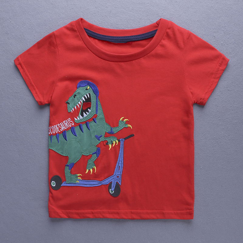 1-6Year Boys Short Sleeve tshirt Animal Shark Embroidery <font><b>Shirt</b></font> for Boy Children's T-<font><b>shirt</b></font> Girl <font><b>Dinosaur</b></font> Babies Top Tees image