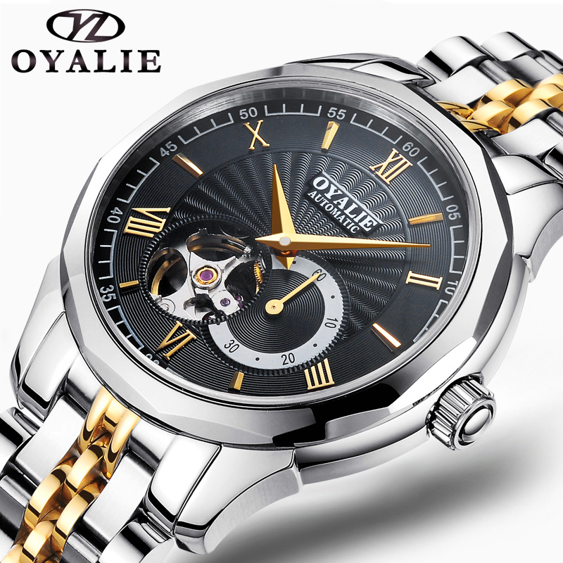 где купить OYALIE Top Brand Luxury Business Male Clock Watches Roman Numeral Dial Silver/Gold Steel Chain Men Mechanical Wristwatches G9725 по лучшей цене