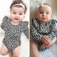 Новинка года; Комбинезон для маленьких девочек; одежда с леопардовым принтом; Roupas пляжный костюм для детей 0-24 месяцев