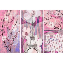 Laeacco Oil Painting Flowers Eiffel Tower Pattern Wallpaper Photography Backdrop Photographic Backgrounds Photocall Photo Studio