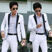 New Stylish Men's Blazer Casual Slim fit One Button Pop Suit Blazer Coat Jacket White free shipping