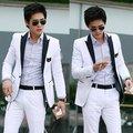 Nuevo estilo de hombre de Blazer Casual Slim fit un botón Pop Blazer Suit Coat Jacket blanco envío gratis