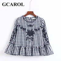 GCAROL England Embroidered Floral Crop Blouse O Neck Flare Sleeve Ruffle Peplum Tops For Ladies