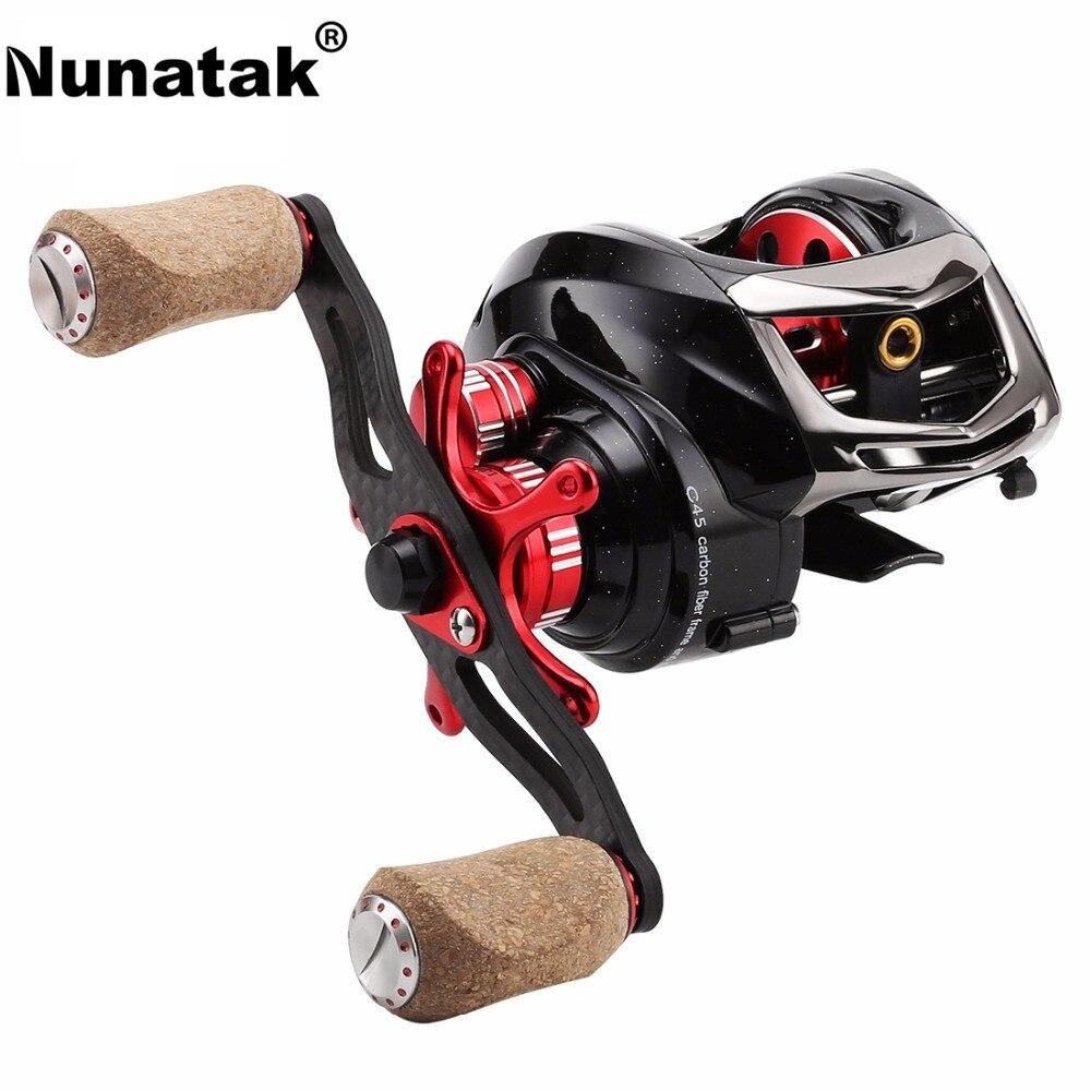 Nunatak ELF II 6.4:1/7.2:1 Baitcasting Fishing Reel 14BB 7.5KG Dual Brake System C45 Carbon Fiber Bait Casting Fishing Wheel