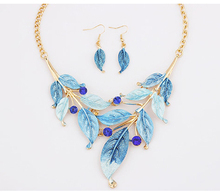 New Fashion Women Jewelry Set Bohemian Rhinestone Enamel Leaves Necklace Pendant Collar Choker And Dangle Drop Earrings Charms