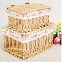 2016 Promotion Caixa Organizadora Willow Storage Basket With Lid Large Rustic Baskets Box Cosmetic