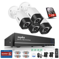 SANNCE 4CH 720P AHD DVR System 1280 720 1200TVL Waterproof Night Vision Surveillance Camera IR CCTV