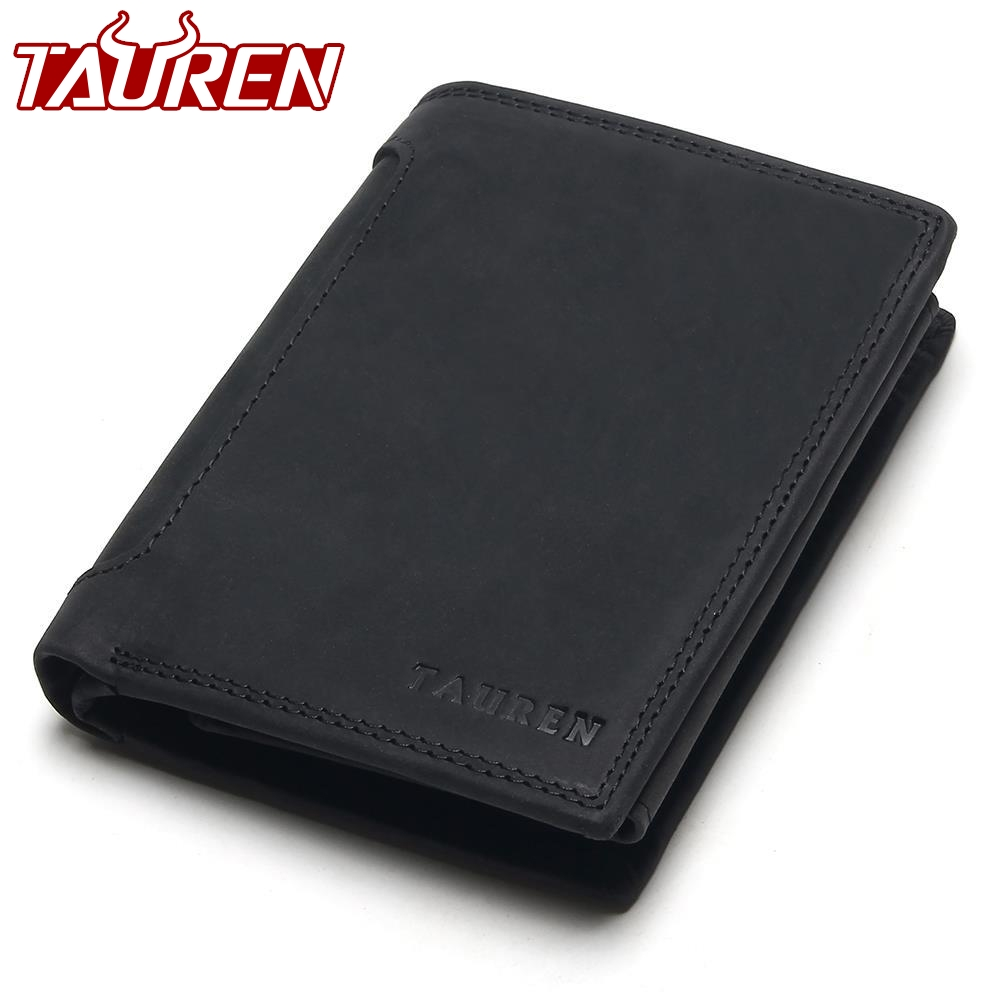 TAUREN Designer 100% Genuine Leather Cowhide Dark/Black Crazy Horse Men Short Wallet Purse Card Holder Coin Pocket Male Wallets 2017 new men wallets contact s genuine crazy horse cowhide leather short purses for brand men casual card holder designer wallet page 8