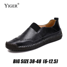 цена YIGER New Men Loafers genuine Leather Handmade Man Leisure Slip-on shoes Casual Boat shoes Big size 39-48 Driving shoes   0257