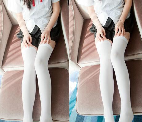 Latest Sale Black White Middle School Student Women Solid Color Stockings High Elastic Tights Hosiery Pantyhose 2019