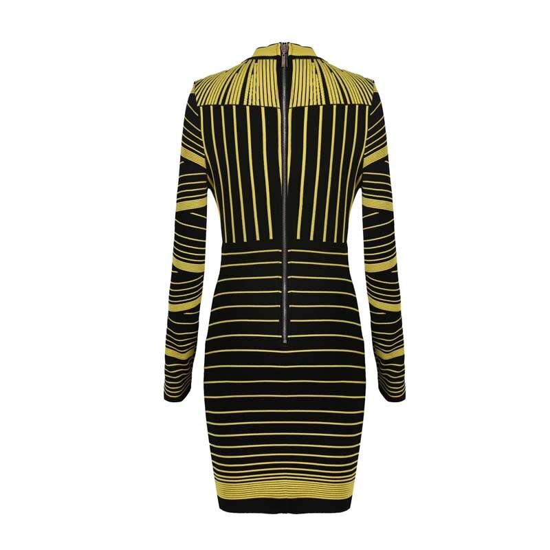 卸売 2019 秋と冬の新ドレスイエローグリーンジャカード長袖豪華なセレブブティック包帯ドレス (H2585)  グループ上の レディース衣服 からの ドレス の中 3