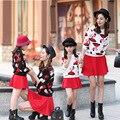 Mãe & kids clothing primavera outono meninas conjunto princesa dos desenhos animados impressão meninas tops + saias meninas terno vestido de mãe e filha