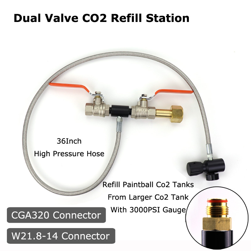 NEW Paintball PCP Deluxe Dual Valve CO2 Fill Station Adapter With Gauge 37Inch High Pressure Hose CGA320 & W21.8-14(DIN 477)