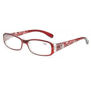 Fashion Women Spring Hinge Flower Print Resin Reading Glasses Lady Eyewear Protector Glasses Presbyopic +1.0~+4.0
