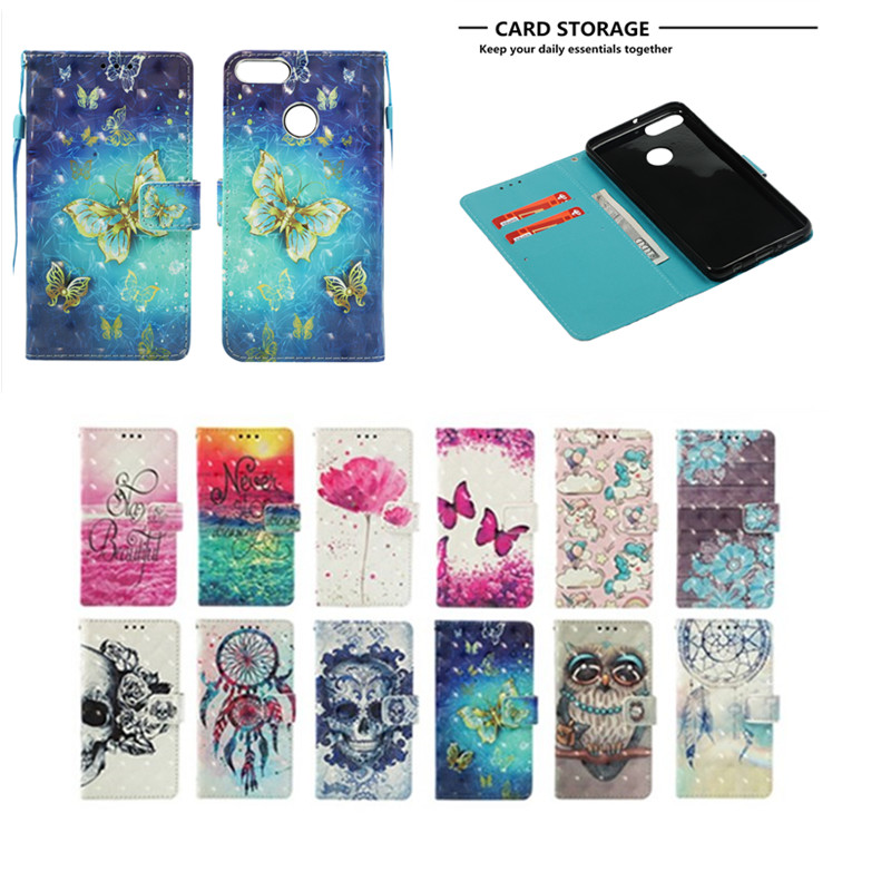 For Coque Huawei Y9 2018 Case, Leather Case For Fundas Huawei Y9 2018 Case Y9 2018 Cover Flip wallet Painted Stand Phone Cases