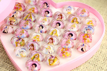 25PCS Baby shower decoration for girl princess Cartoon Ring kids happy birthday party supplies favors return gift