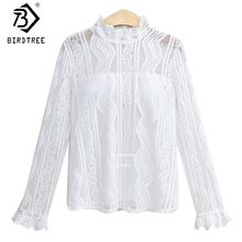 2018 Women Tops Elegant Hollow Out Sexy White Lace Blouse Shirts Fall Tops Female Blouse Long Sleeves Blouse New Arrival T7N754A(China)