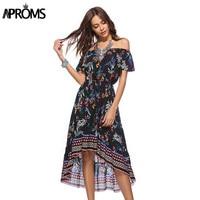 Aproms Off Shoulder Multi Print Summer Dress Women Casual Boho Midi Dress Spring 2018 Elegant Lady