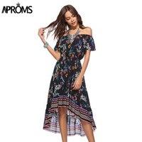 Aproms מכתף שמלת קיץ לנשים מקרית Boho הדפסה רב Midi שמלת אביב 2018 ליידי אלגנטית Vestidos ארוך שמלה קיצית