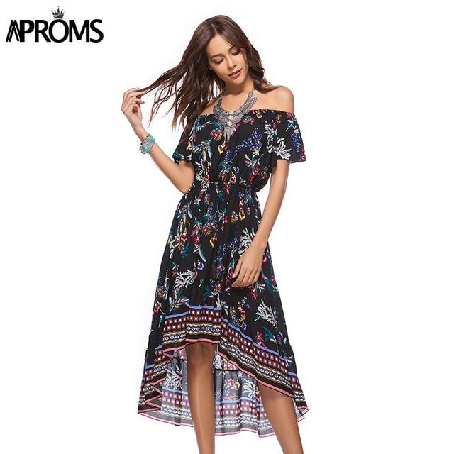Aproms Off Shoulder Multi Print Summer Dress Women Casual Boho Midi Dress Spring 2018 Elegant Lady Long Dress Sundress Vestidos