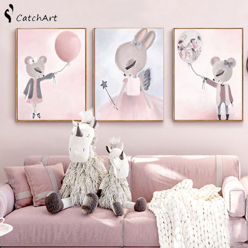 Nordic Watercolor Cartoon Unicorn Deer Rabbit Girl Canvas Painting Flower Poster Swan Wall Pictures Kids Room Home Decoration in Painting Calligraphy from Home Garden