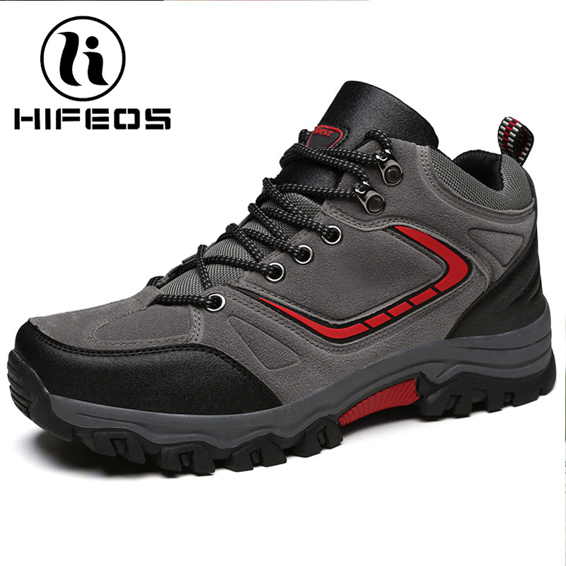 HIFEOS hiking shoes winter men's high top breathable outdoor sneakers camping boots wear-resistant anti-slip waterproof  M044 winter men s anti slip warm outdoor high top hiking sports boots fur shoes men army wearable climbing sneakers shoes camping