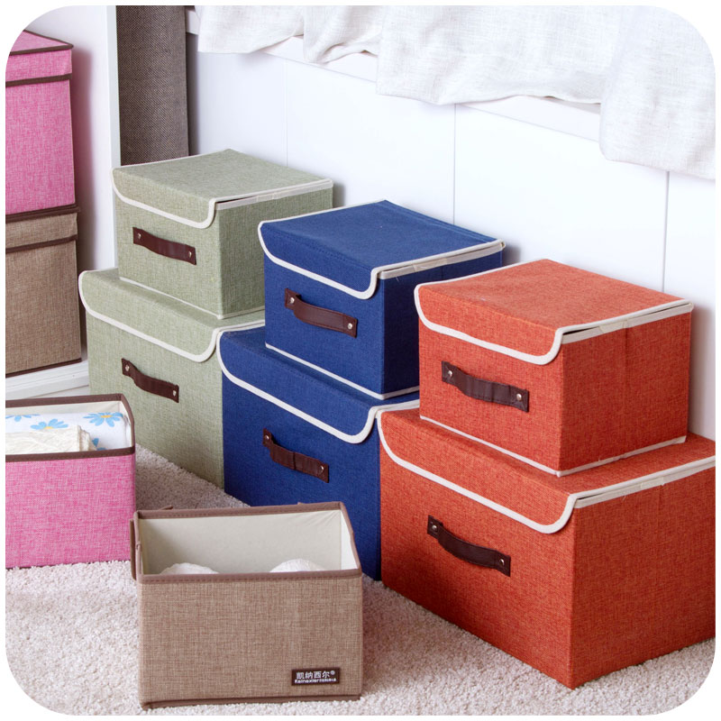 Cotton toy storage box large covered storage basket, folding clothes sorting box storage box