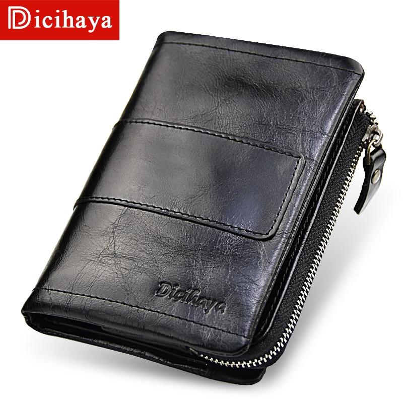 fb6568b6104c DICIHAYA RFID кражи Протек монет сумка молния Для мужчин из натуральной  кожи кошельки дизайн известный бренд