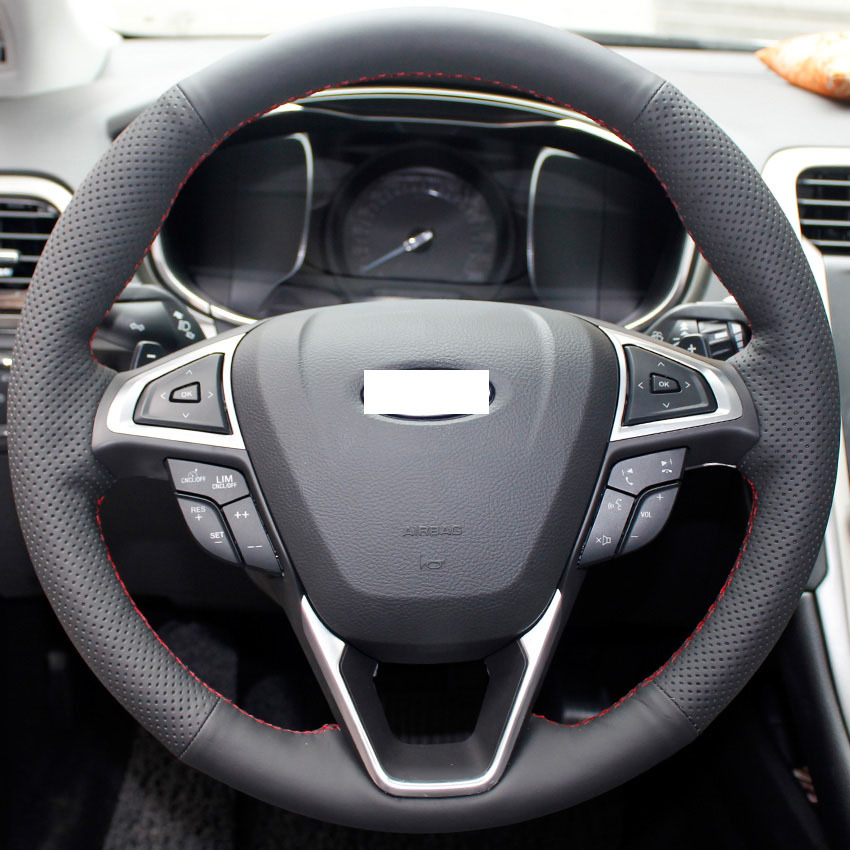 Book Cover Black Fusion : Xuji black genuine leather steering wheel cover for ford