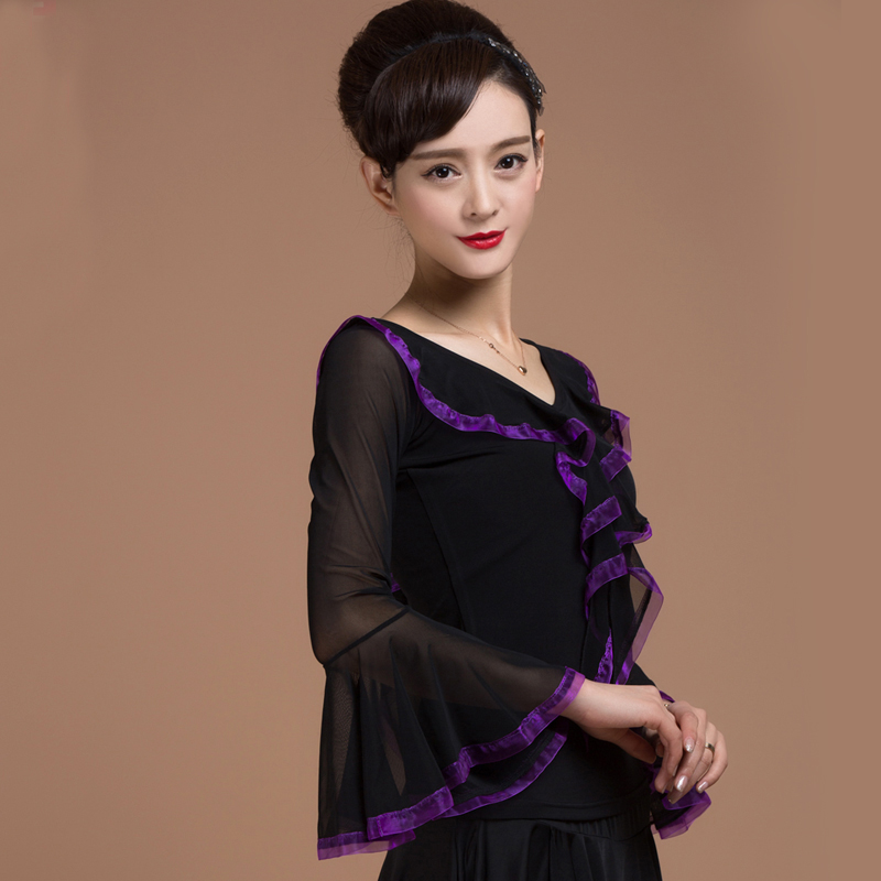 048997a6b70 Ballroom Sexy modern long sleeve Latin dancing clothing top for women female  girl lady