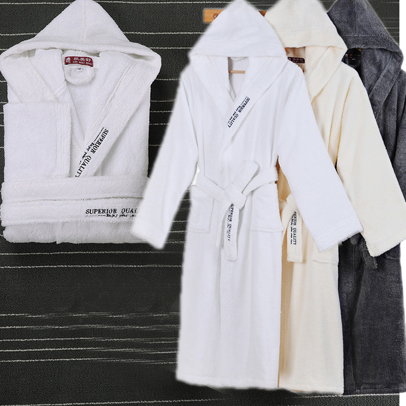 13179fda11 Thick cotton Hooded men women s bathrobe Embroidery Soft Terry Robe Hotel  absorbent Night Dressing Gown pijamas Bridesmaid Robe