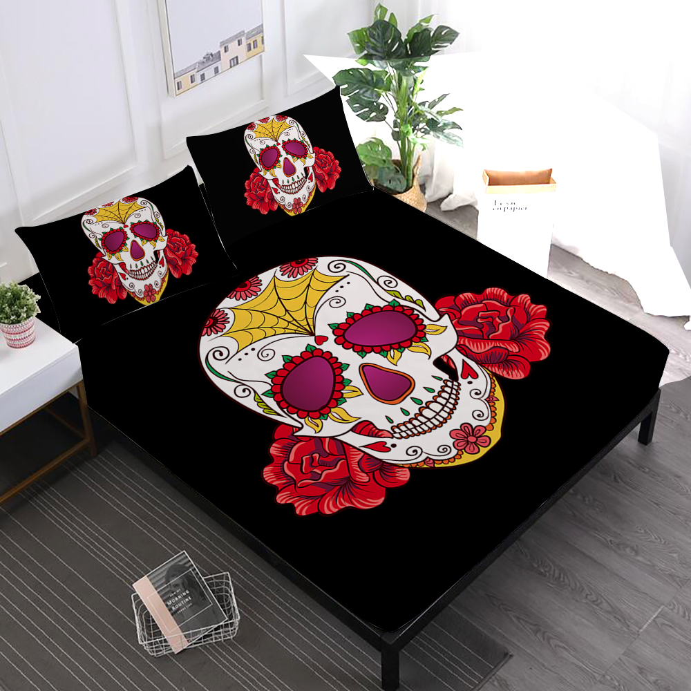Hippie Sheets Set Sugar Skull With Flowers Print Fitted Sheet skeleton Flat Sheet Pillowcase Day of the Dead Gift Home Decor D30Hippie Sheets Set Sugar Skull With Flowers Print Fitted Sheet skeleton Flat Sheet Pillowcase Day of the Dead Gift Home Decor D30