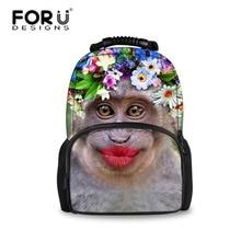 3D Custom Children School Felt Backpack Funny Mouth Monkey Backpack for Teenager Girls Fashion College Student Animals Backpack