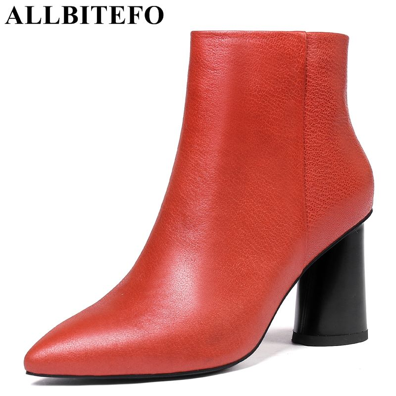 allbitefo brand genuine leather super high heel ankle women boots fashion sexy ladies girls martin boots motocycle boots shoes ALLBITEFO brand genuine leather ankle women boots fashion high heel shoes Autumn winter ladies girls motocycle boots mujer botas