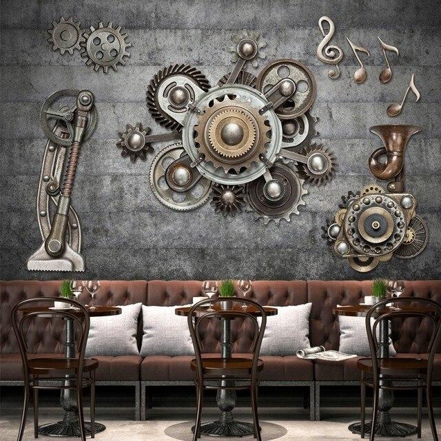 Retro wallpaper mechanical gears wall decoration office ...