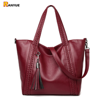 Hot Sale Knitting Tassel Women Bag Leather Handbags Women Totes Bolsos Mujer De Marca Famosa Women