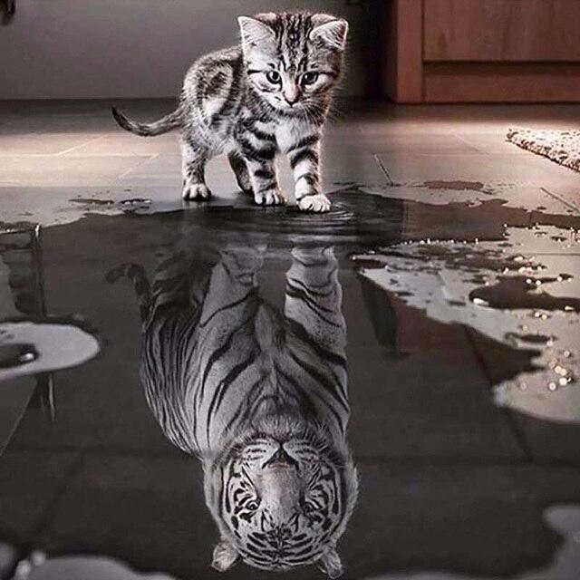 Peinture bricolage 5D diamant chat   Peinture mosaïque, tigre animal dimaond, broderie tigre chat diamant, mosaïque perceuse complète, tigre chat