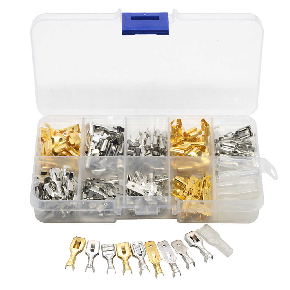 150pcs 6.3mm Crimp Terminals Insulated Seal Electrical Wire Connectors Crimp Terminal Connector Assortment Kit