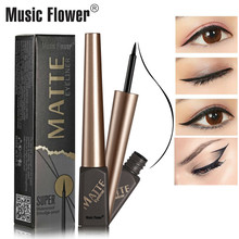 Music Flower 2018 New Waterproof Liqiud Eyeliner Pencil Matte Eye Liner Delineador Black Eyelid Fast-Dry Makeup 24H Long-lasting