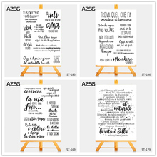 AZSG Italian Style Graceful Calligrapy Clear Stamps/Seal For DIY Scrapbooking/Card Making/Album Decorative Silicone Stamp Crafts