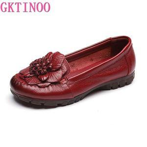 Image 2 - Модные женские туфли GKTINOO 2020 из натуральной кожи, лоферы, женская повседневная обувь, мягкая удобная обувь, женские туфли на плоской подошве с цветами