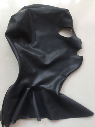 100% pure natural latex fetish zentai handmade Solid Black with back zipper and neck collar rubber mask Hot Sale Fast Delivery pure and natural 250 1090415