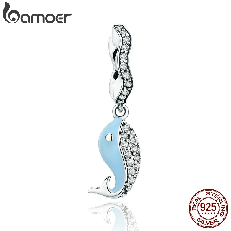 BAMOER New Collection 100% 925 Sterling Silver Ocean Fancy Whale Clear CZ Pendant Charm fit Charm Bracelet DIY Jewelry SCC474BAMOER New Collection 100% 925 Sterling Silver Ocean Fancy Whale Clear CZ Pendant Charm fit Charm Bracelet DIY Jewelry SCC474